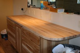 the peninsula maple butcher block countertop fully installed